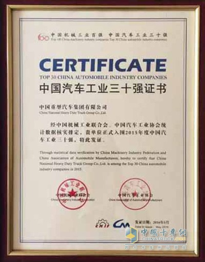 SINOTRUK Ranked among TOP 10 in Automobile Industry Companies for 12 Years