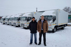 JAC Held Handover of 6 trucks in Russia Kracnoyarck