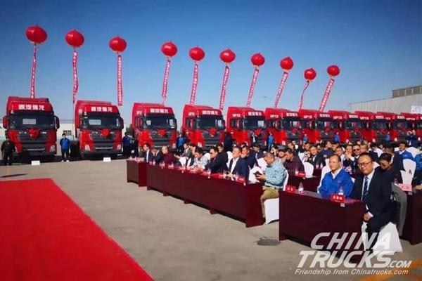 Shacman Delivers 100 Units NG Powered Trucks to Their Customer in Xinjiang