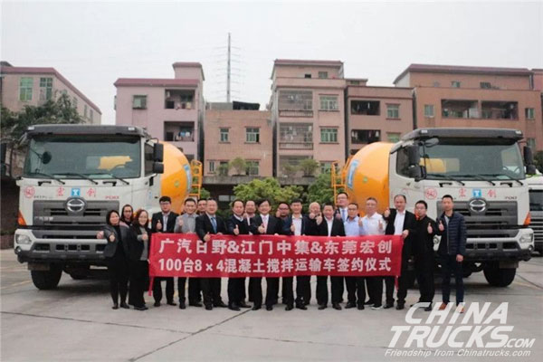 100 Units GAC Hino Light Concrete Mixers Delivered to Dongguan for Operation