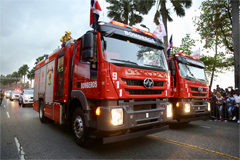 Hongyan Genlyon Fire-fighting Trucks Appear at Dominican Military Review