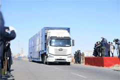 Jiefang Trucks Loaded with Mongolia-donated Sheep Arrive in China