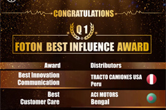 Foton Awards Five Overseas Sales Agents for Their Outstanding Performances in Q1