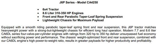 J6P Series-Model CA4250 (8.6 Liter) 6×4 Tractor