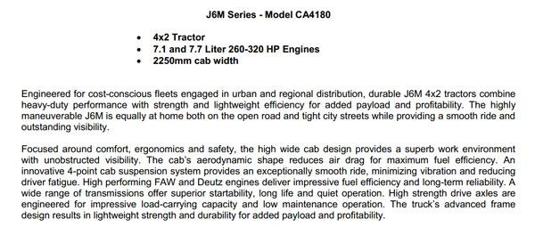 FAW J6M Series-Model CA4180(7.1/7.7 Liter)4×2 Tractor
